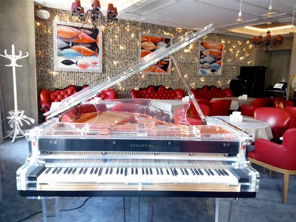 Цей музичний інструмент прикрашає зал, де готують страви з морепродуктів