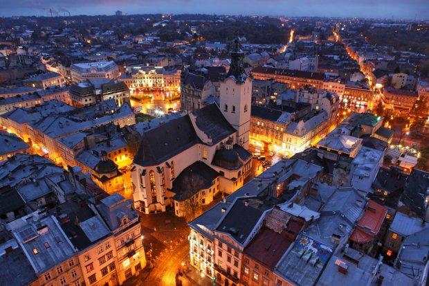 Вид на Львів з Ратуші ввечері