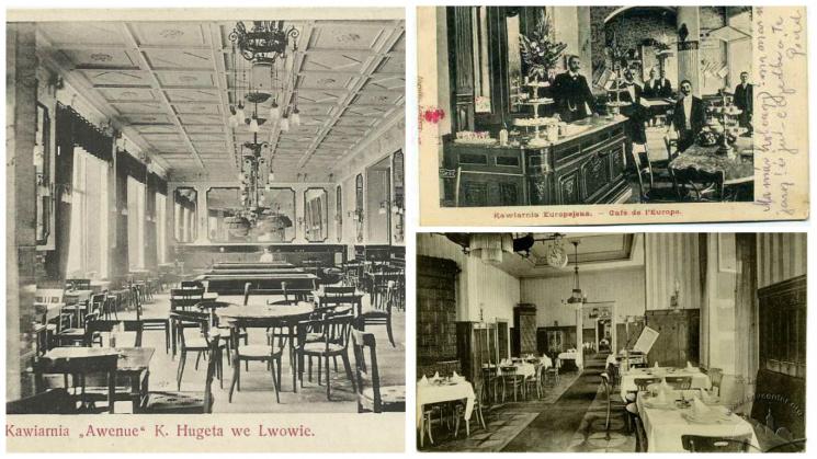 Старовинні фото львівських кав'ярень (джерело). У 1841 році географ-мандрівник Йоганн Коль дивувався кількості кав'ярень у Львові, стверджуючи, що місто має кращі та елегантніші кав'ярні, ніж його рідний Дрезден.