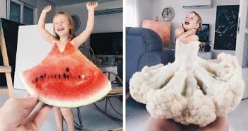 """Мама прославила доньку, фотографуючи її в оригінальних """"сукнях"""" з їжі і квітів"""