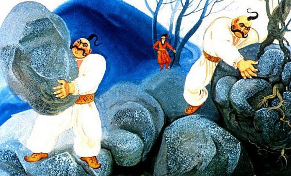 """Два брати-богатирі – Вернигора і Вернидуб. Ілюстрації М.Єрмак до книжки """"Козак Мамарига"""""""