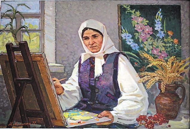 """Картина """"Натхнення"""" художника М.Малинка на якій зображена Катерина Білокур за роботою"""