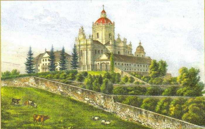 Святоюрські сади на літографії Кароля Ауера. Друга третина XIX ст.