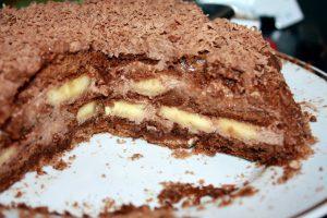 Шоколадний торт з бананами