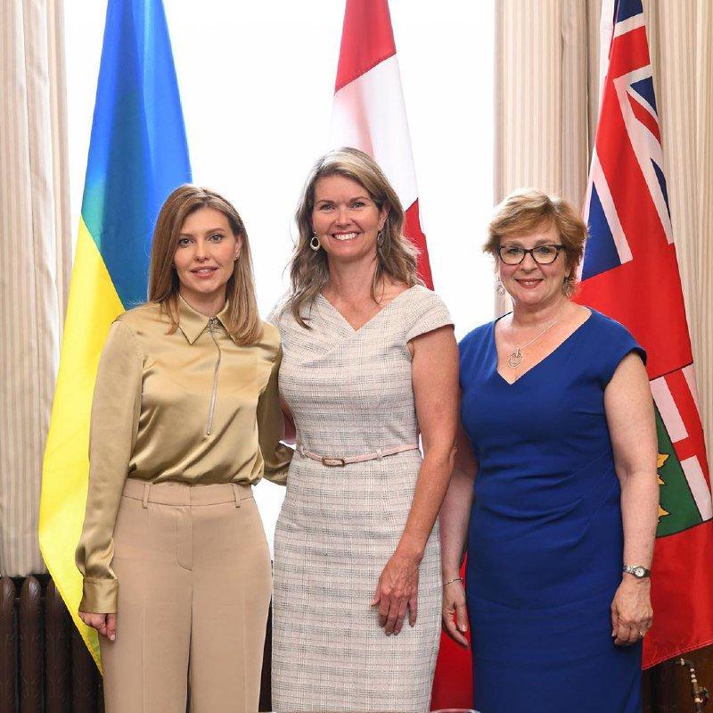 Олена Зеленська на зустрічі з з міністром у справах дітей та жінок Джил Данлоп та парламентським секретарем Робін Мартін
