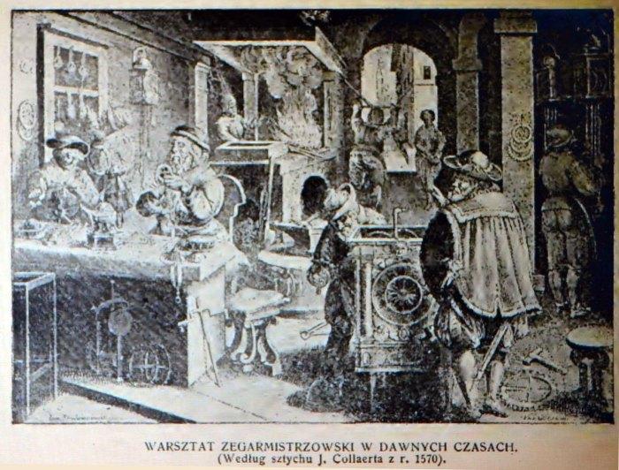 Годинникова майстерня давніх часів (джерело фото – Ф. Яворський «Львів давній і вчорашній»)
