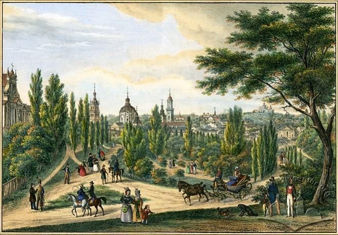 """Літографія Карла Ауера """"Губернаторські вали"""" (1837-1838)"""