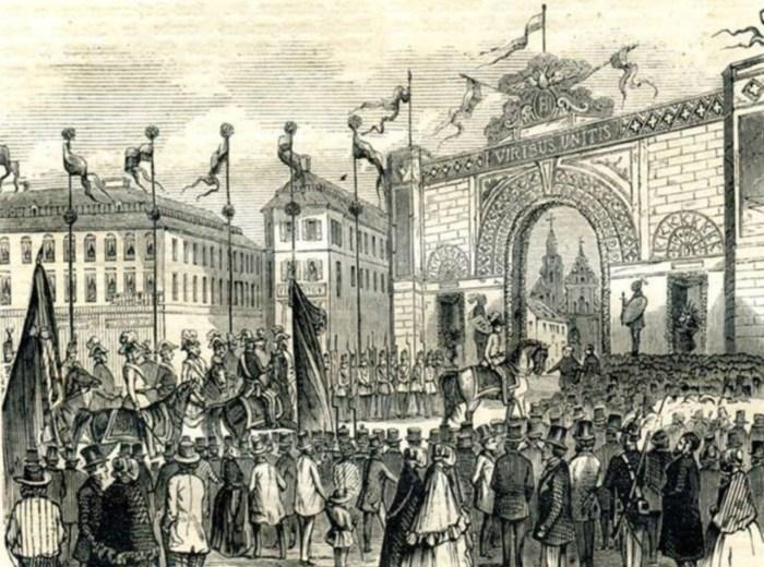 Трімфальна арка на площі Міцкевича під час візиту Франца Йосифа в 1851 році. Рис. 1850-х рр