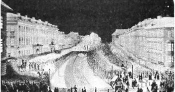 Фейерверк у Львові 1854 р. Г. Мадурович. Папір, акварель